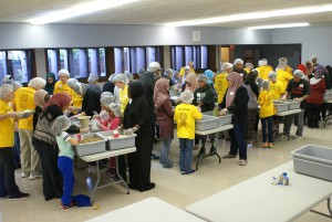 The group put together 10,000 dehydrated food packets for hungry children.
