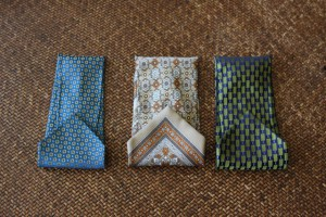 Eyeglass cases for nursing home residents were made from neckties