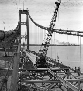 Shown under construction in the 1950's, the Mackinac Bridge is still considered one of the world's most beautiful bridges.