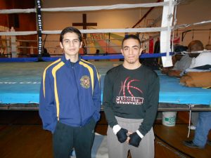 """Jeremy Olivarez (left) with Joe Mendez: """"It's a great way to take out my anger and frustrations."""""""
