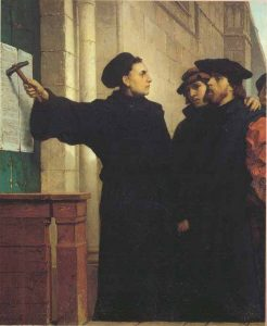Martin Luther nails his 95 Theses to the castle church door in Wittenberg, Germany, sparking a religious revolution with far-reaching implications.